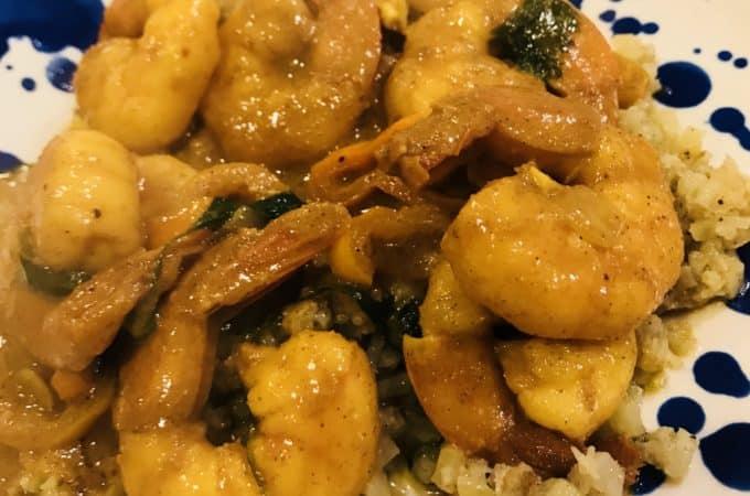 Paleo Orange Shrimp w/ Cauliflower Fried Rice