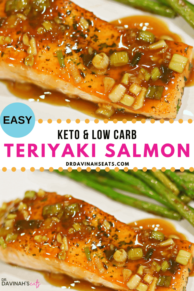 Keto Teriyaki Salmon recipe pinterest image