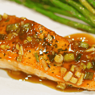 Keto Teriyaki Salmon recipe on a plate