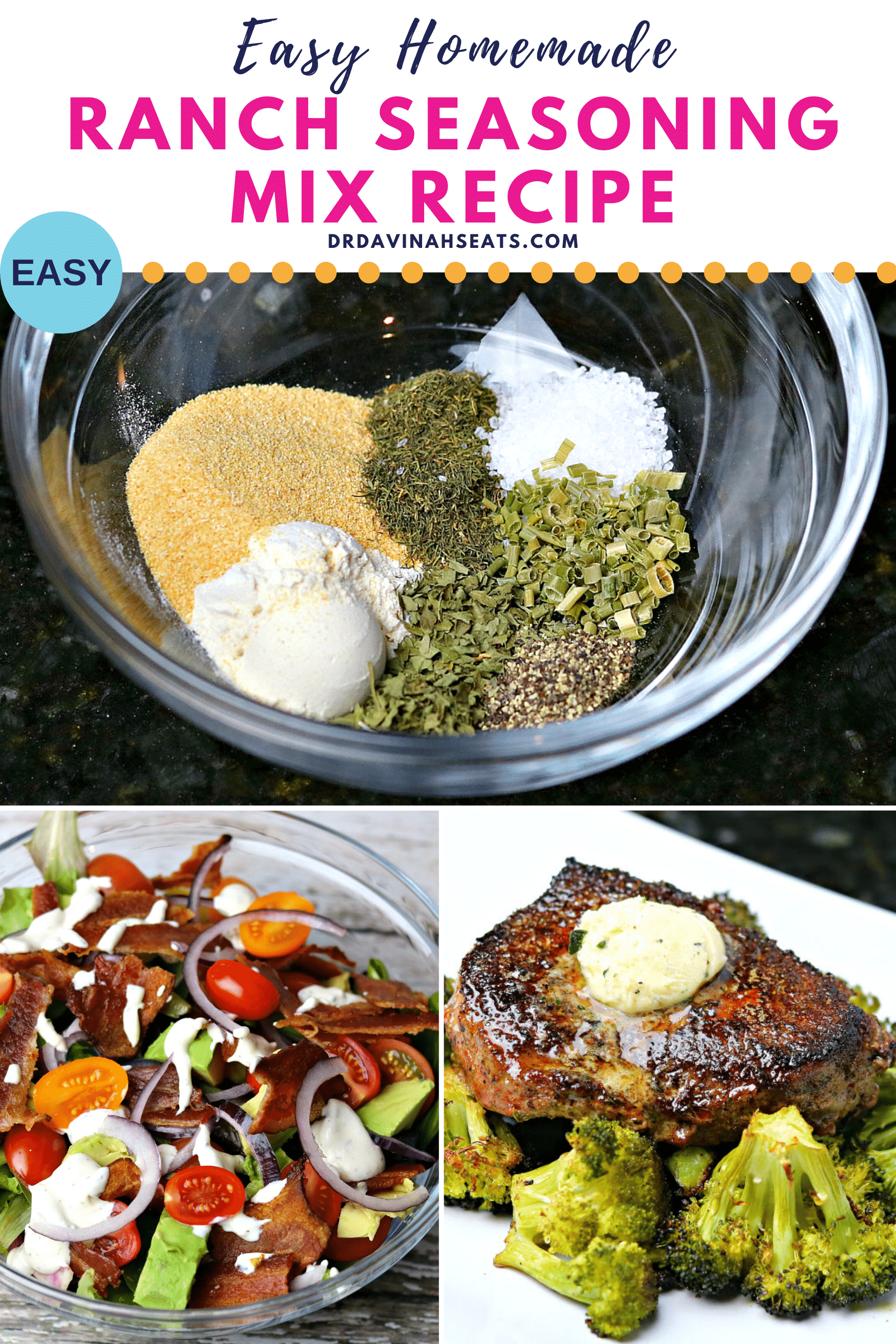 Pinterest image for ranch seasoning mix recipe