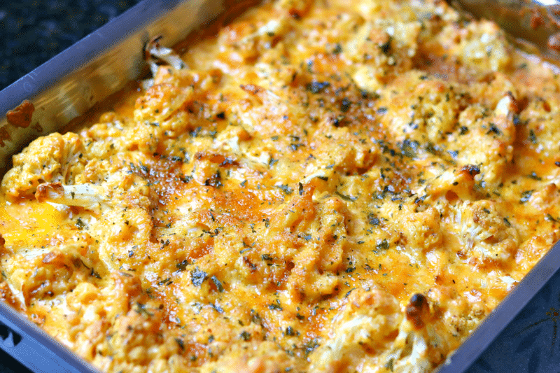 Cauliflower Mac in a baking pan