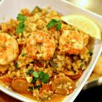 Low Carb Jambalaya in a white bowl