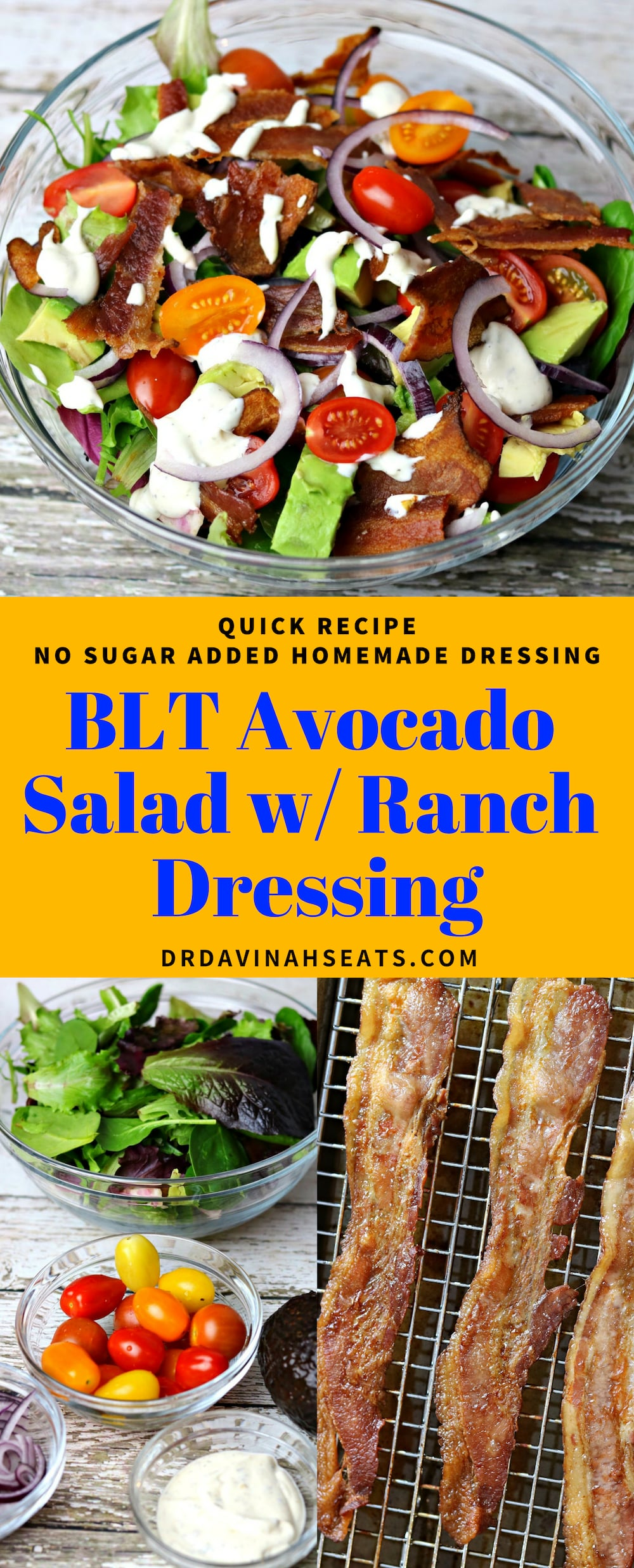 A keto & low carb salad version of the BLT sandwich. Includes all of the flavors of the BLT and a recipe for homemade ranch dressing. #keto #lowcarb #blt #avocado #ranchdressing #ketorecipes #lowcarbrecipes #quickmeal