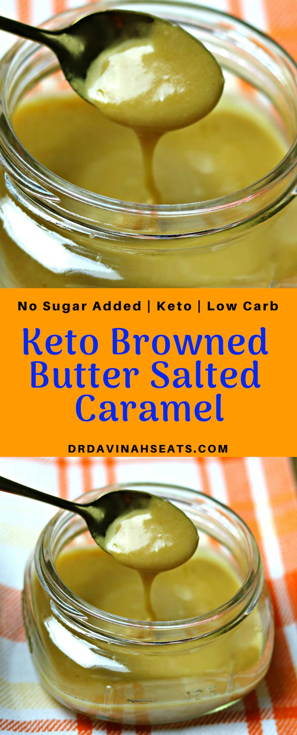 A no sugar added recipe for salted caramel that features browned butter, keto brown sugar, pink sea salt, and heavy cream. #keto #lowcarb #noaddedsugar #ketocaramel #caramel