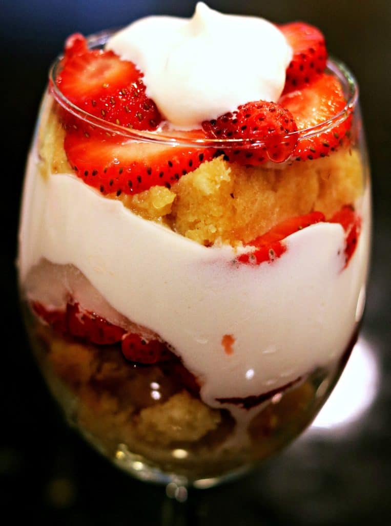 Low Carb Strawberry Shortcake in a glass