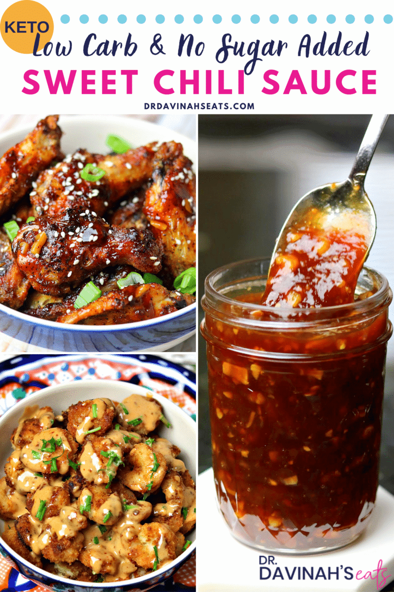 A Pinterest friendly image for Low Carb Sweet Chili Sauce