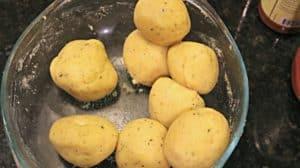 A bowl of keto fathead dough sorted into 8 balls