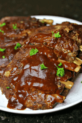 Keto Ribs on a plate vertical image