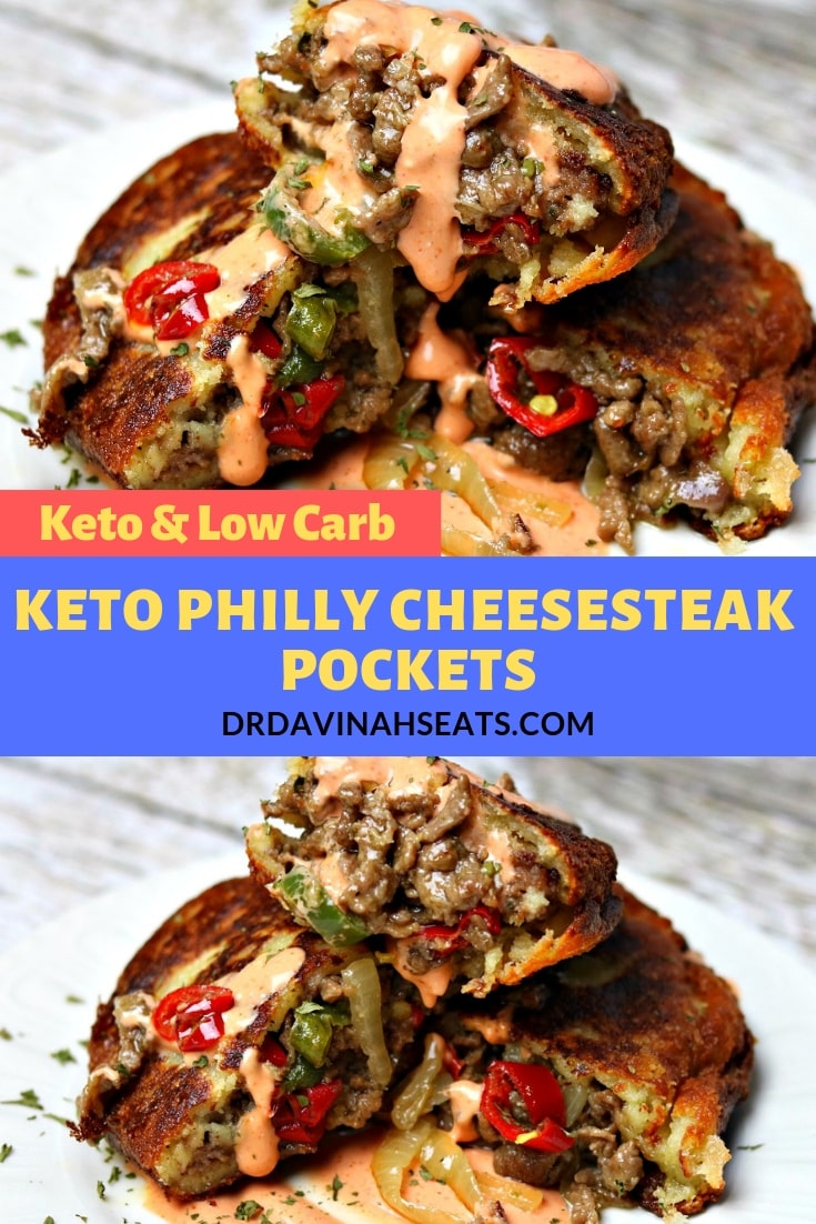 A keto-friendly and low-carb recipe for Philly Cheesesteak Pockets. This recipe uses fathead dough, shaved top sirloin steak as well as Lee Kum Kee sauces to make a delicious appetizer, snack, or main dish for a keto and low-carb crowd.