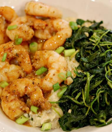 Sweet & Spicy Shrimp w/ Cheese Cauliflower Grits and Garlic Kale