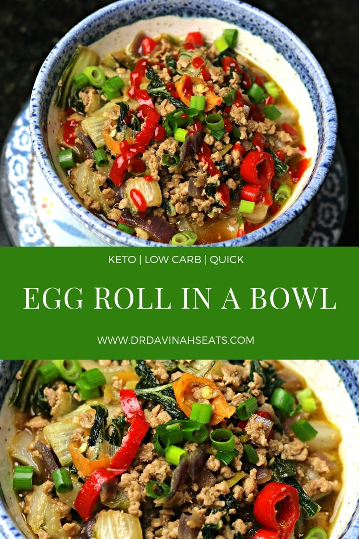 A quick, one-pot recipe for the low-carb and keto-friendly dish known as Egg Roll in a Bowl or Crack Slaw.