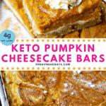 Pinterest Image for Keto Pumpkin Pie Cheesecake Bars