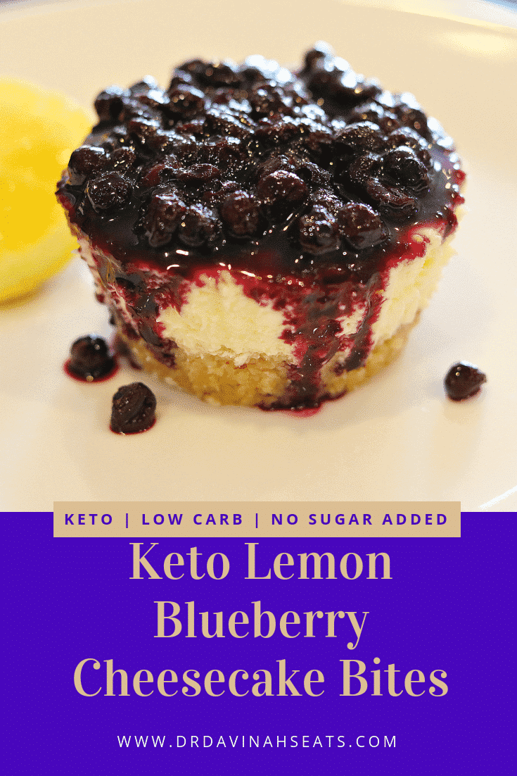 A keto, low-carb, no sugar added recipe for lemon cheesecake bites with a blueberry compote sauce.