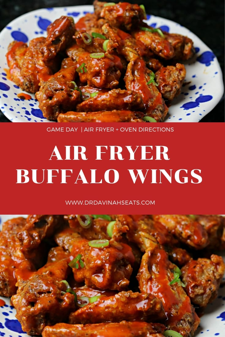 A quick recipe for Air Fryer Buffalo Wings and blue cheese dressing that is homemade, low carb and keto-friendly.