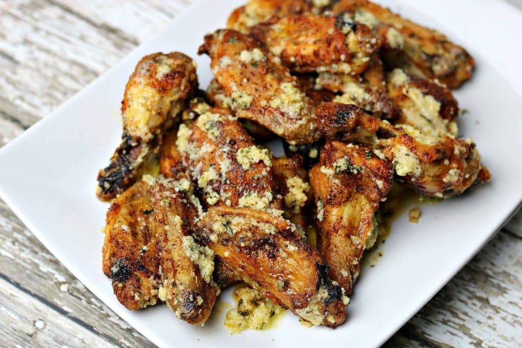 Garlic Parmesan Wings on a white plate