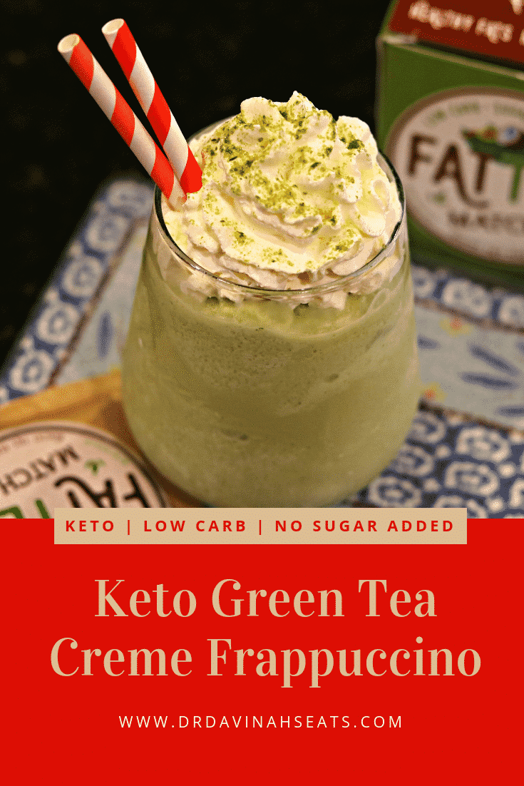 Pinterest image for This Keto Starbucks Green Tea Frappuccino recipe