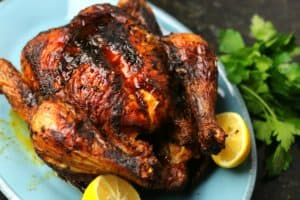 Air Fryer Whole Chicken on a serving plate