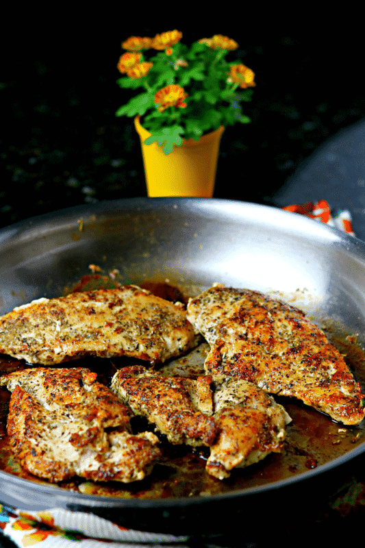 Keto 4 Spice Chicken Breast in a pan