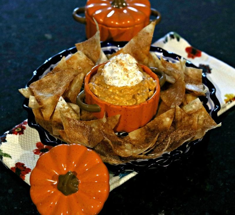 Pumpkin Cheesecake dip on a plate with low carb cinnamon tortillas
