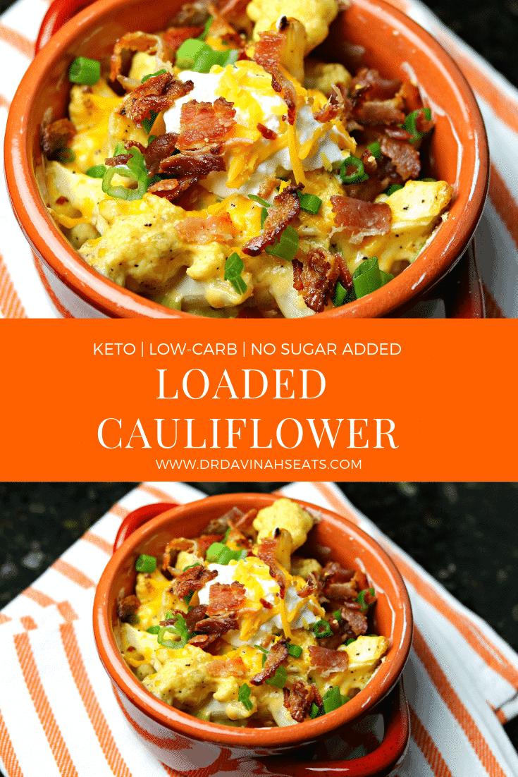 An easy recipe for loaded cauliflower that is the keto-friendly and a low-carb substitute to loaded baked potatoes #keto #lowcarb #cauliflower #recipe