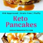 A Pinterest friendly image for Keto Pancakes