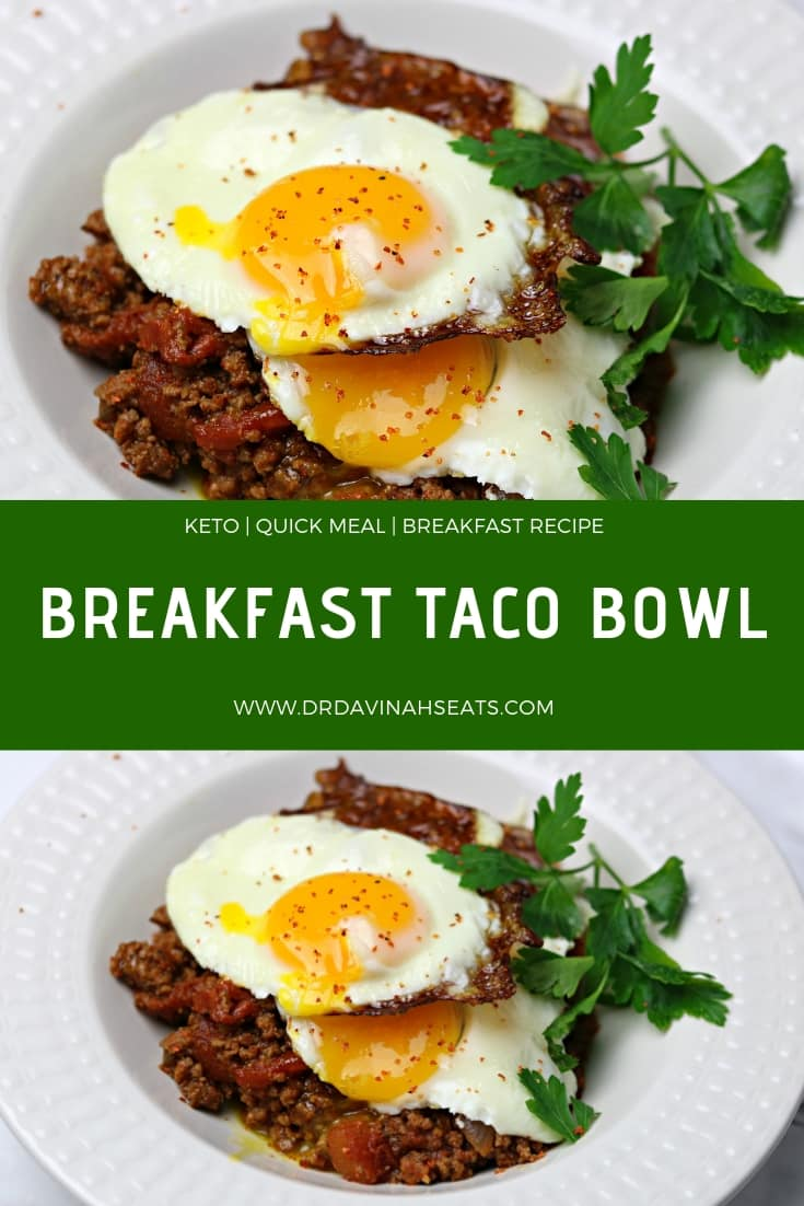 A Pinterest image for a Breakfast Taco Bowl