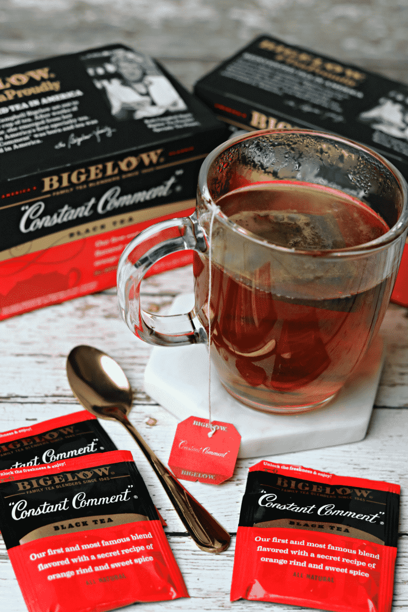Two boxes of Bigelow Constant Comment Tea - the inspiration for Keto Orange Muffins with Orange Chocolate Glaze
