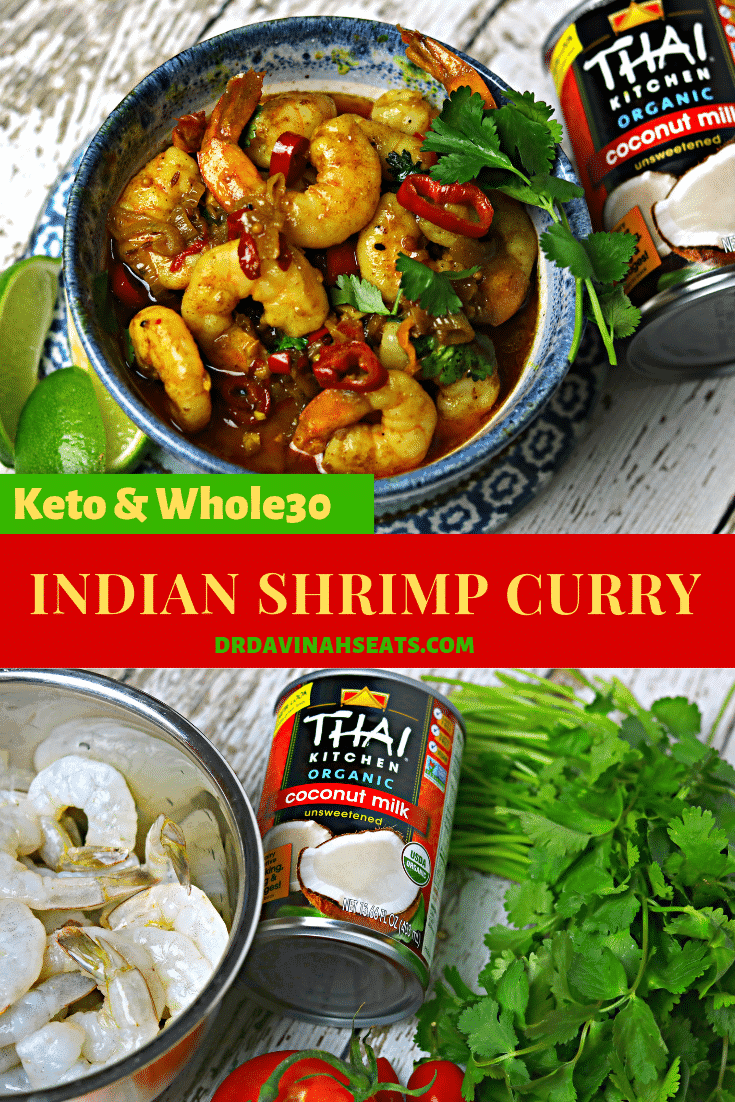 A keto-friendly, all natural recipe for Indian Shrimp Curry that has bold flavor and a bit of a spicy kick. Can be easily adjusted for Whole30. #ad #NewYearNutrition #CollectiveBias #keto #whole30 #shrimp #coconutmillk