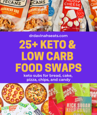 Looking for keto and low carb swaps for cake, bread, chips, and candy? This list has more then 25 ideas!