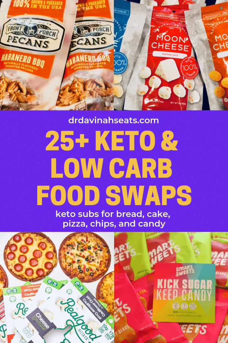 Pinterest image for 25+ keto food swaps