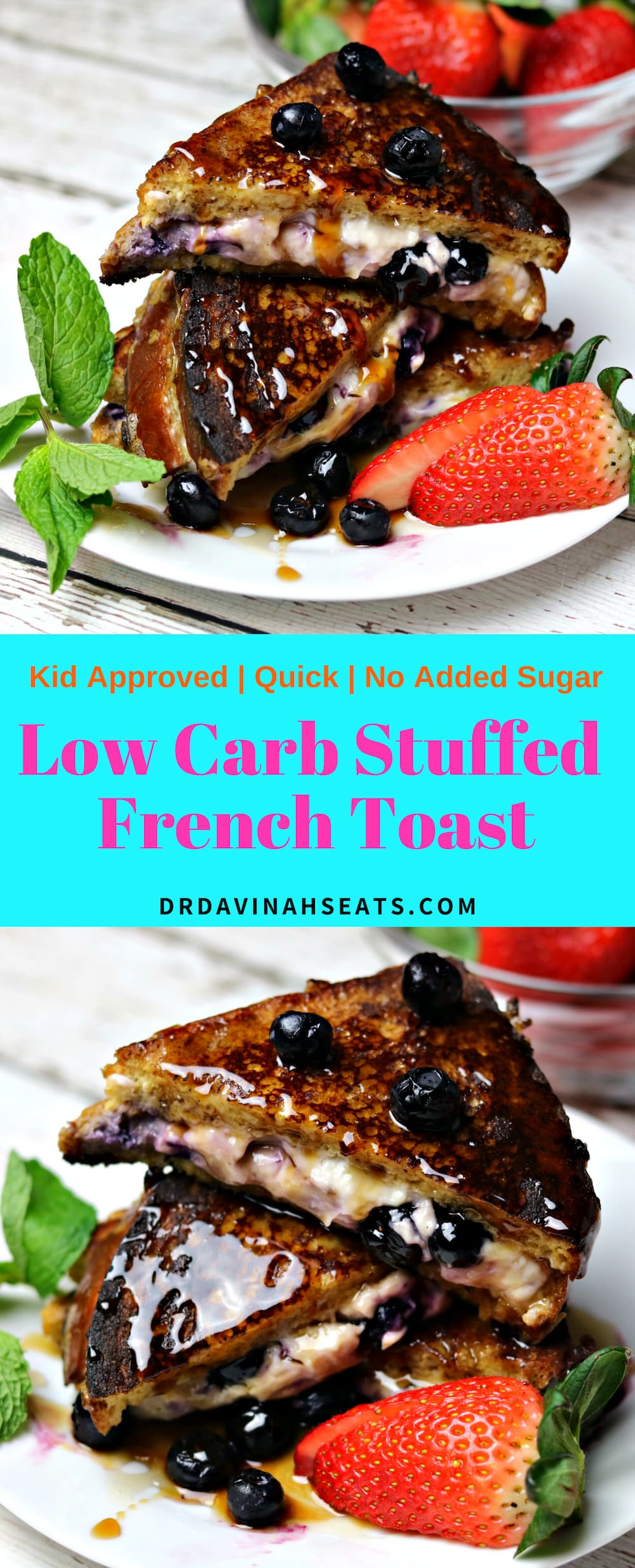 A low carb and Keto-friendly recipe for Stuffed French Toast that uses Sola Low Carb bread and Sola Sugar Replacement. #ketobread #ketobreakfast #lowcarbbread #lowcarbbreakfast #quickmeal #nosugaradded #kidapproved