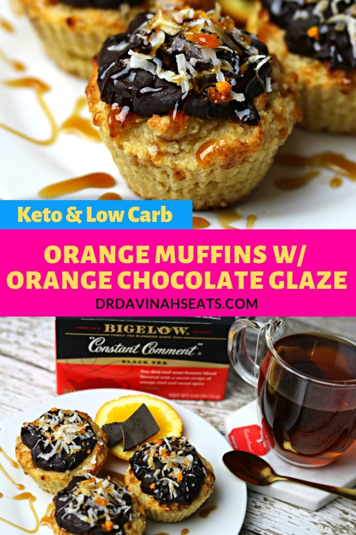 A keto & low carb recipe for orange muffins with an orange chocolate glaze inspired by Bigelow's Constant Comment tea. #ad #TeaProudly #MyHotTeaMonth #CollectiveBias