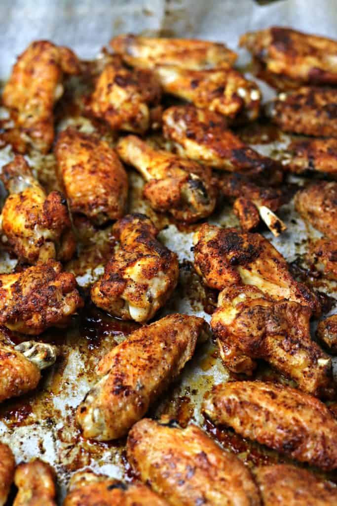 Oven Fried Chicken Wings on a baking sheet