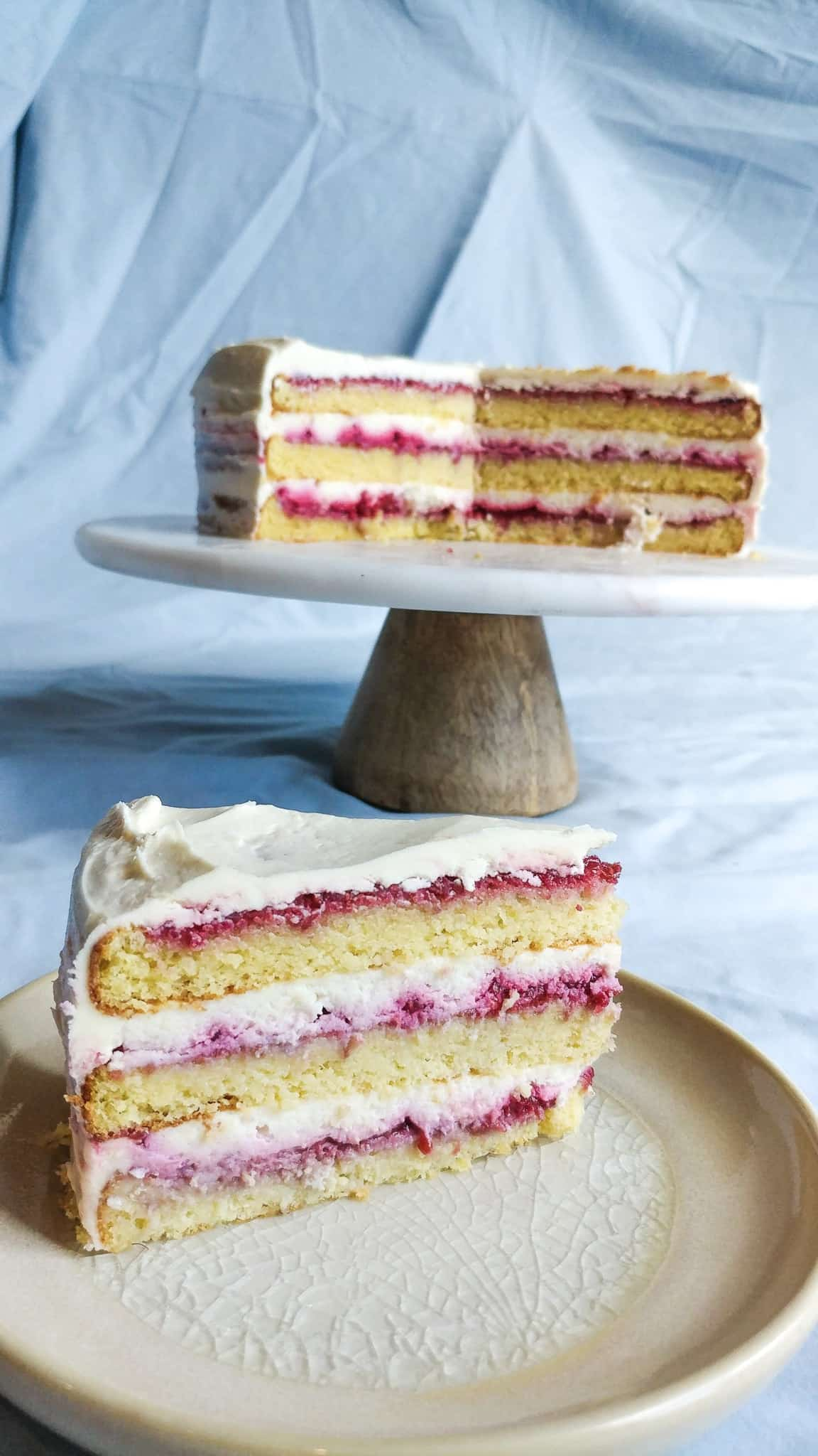 Layered Raspberry Cake on a plate