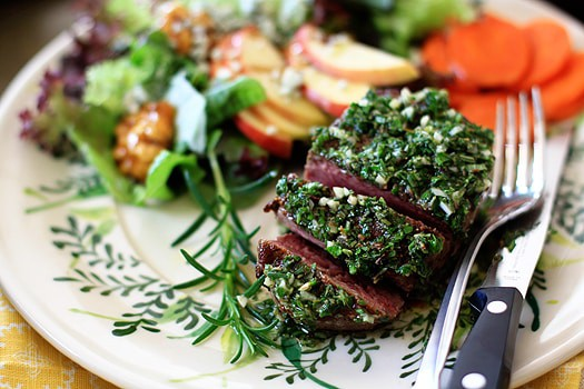 Seared Filet with Mixed-Herb Gremolata on a white floral dish