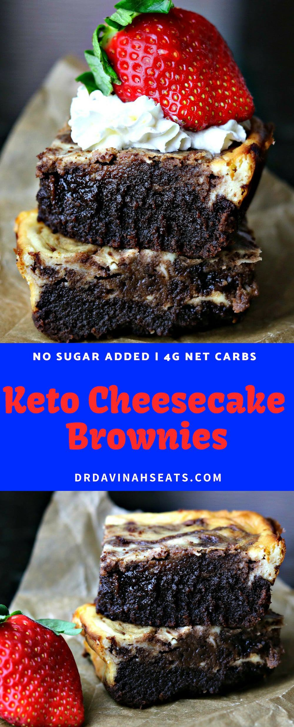 A super moist, fudgy and no sugar added recipe for Keto Cheesecake Brownies. I kept this easy by using a coconut flour-based low carb baking mix. Perfect for Valentine's Day or as an awesome dessert. #keto #ketodessert #lowcarb #lowcarbdessert #nosugaradded #grainfree #valentinesday