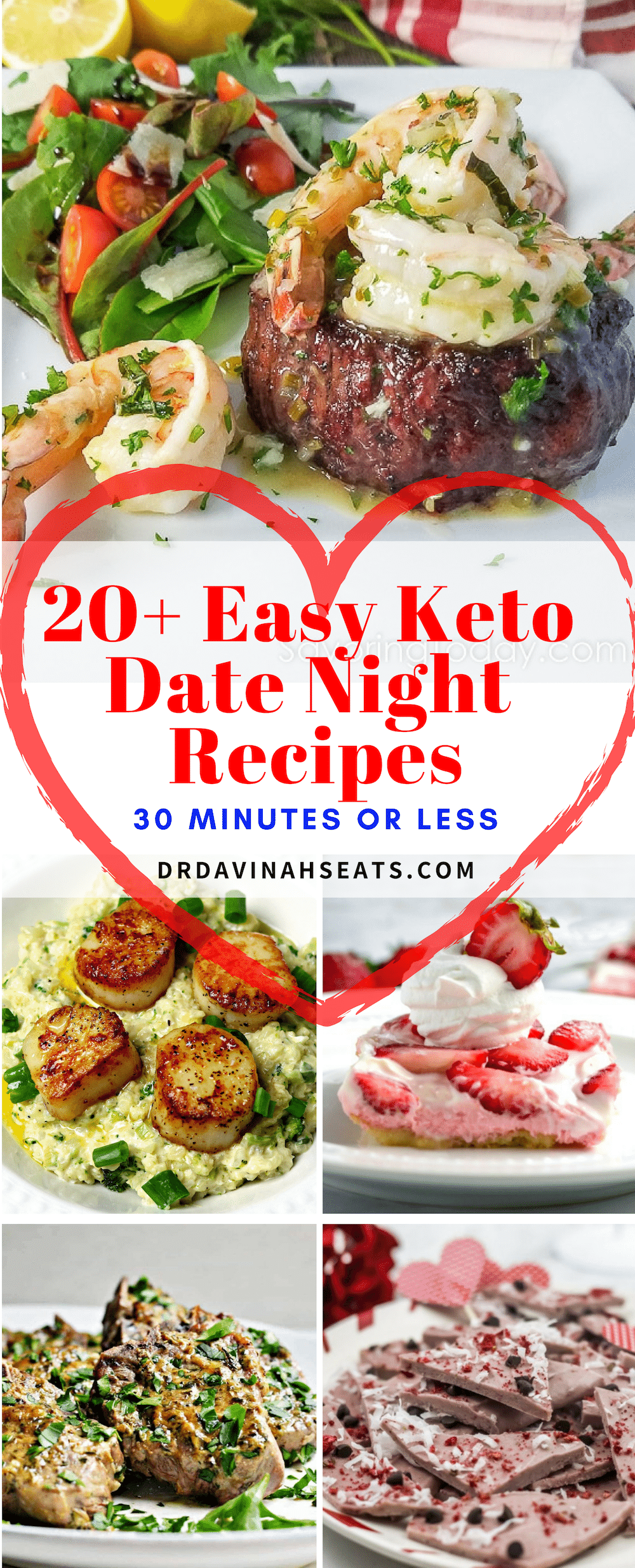 Looking for keto date night dinner ideas? Have 30 minutes? Here, you'll find 20+ appetizers, main dishes & desserts that'll make a perfect keto dinner menu.