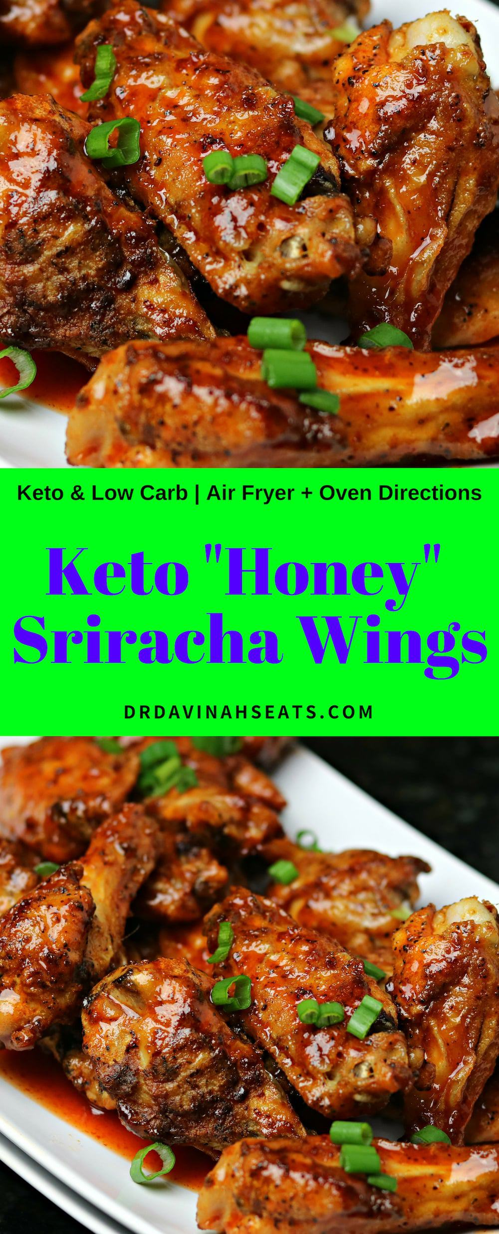 A keto remake for Crispy Honey Sriracha Chicken Wings. Includes a substitute for honey and oven + air fryer directions. #chickenwings #partyfood #keto #ketodinner #airfryerrecipe