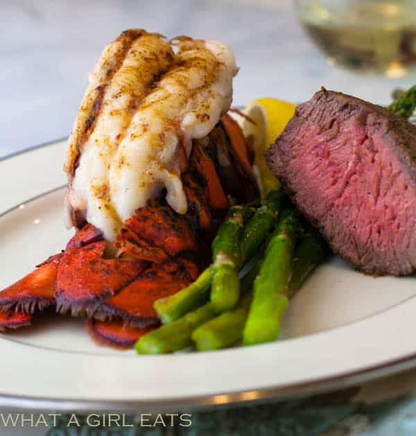 Easy Broiled Lobster Tail on a white serving dish