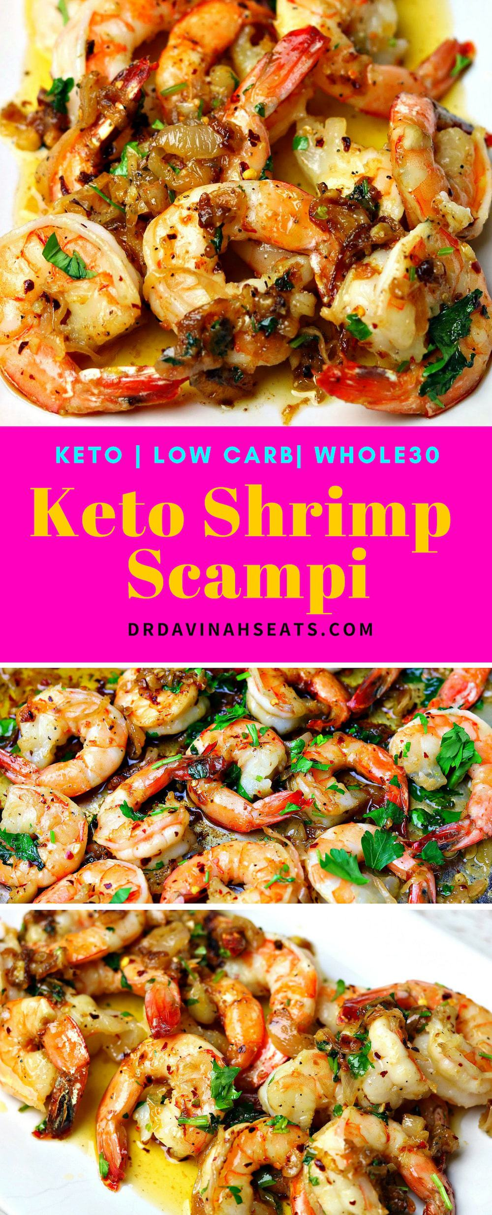 Love shrimp scampi, but want to stick to keto, low carb or Whole30? This easy, garlicky, and buttery Keto Shrimp Scampi recipe has all the tips to keep you on track. #shrimp #keto #ketoshrimprecipe #ketoshrimpscampi #shrimpscampi #whole30recipe #whole30 #lowcarb