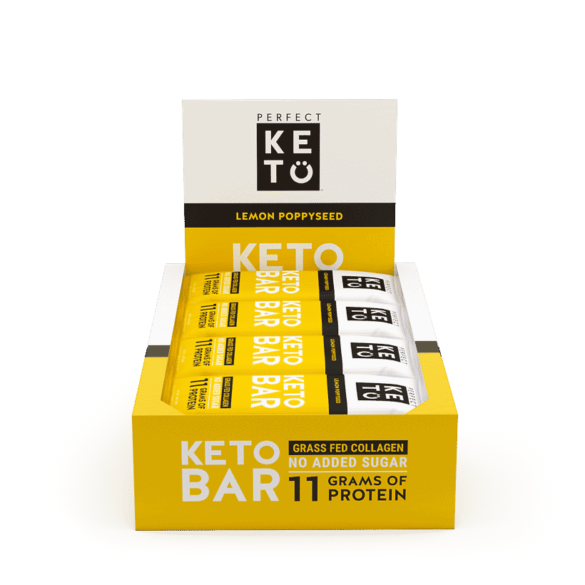 Perfect Keto NEW Keto Bars in Lemon Poppyseed & Salted Caramel are here! Perfect as a clean, keto snack! Get up to 40% off during launch week (2/11-2/15). #keto #ketosnack #ketobar #ketofood #perfectketo