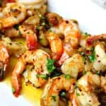 garlic shrimp scampi on a plate