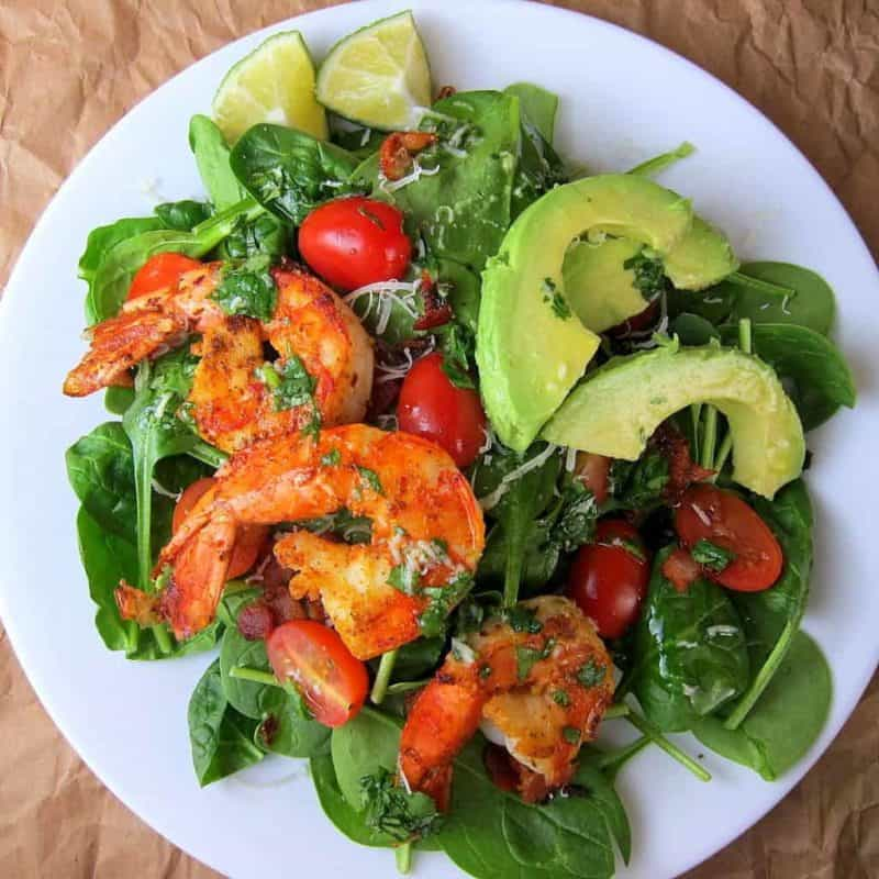 Cajun Shrimp salad recipe on a plate