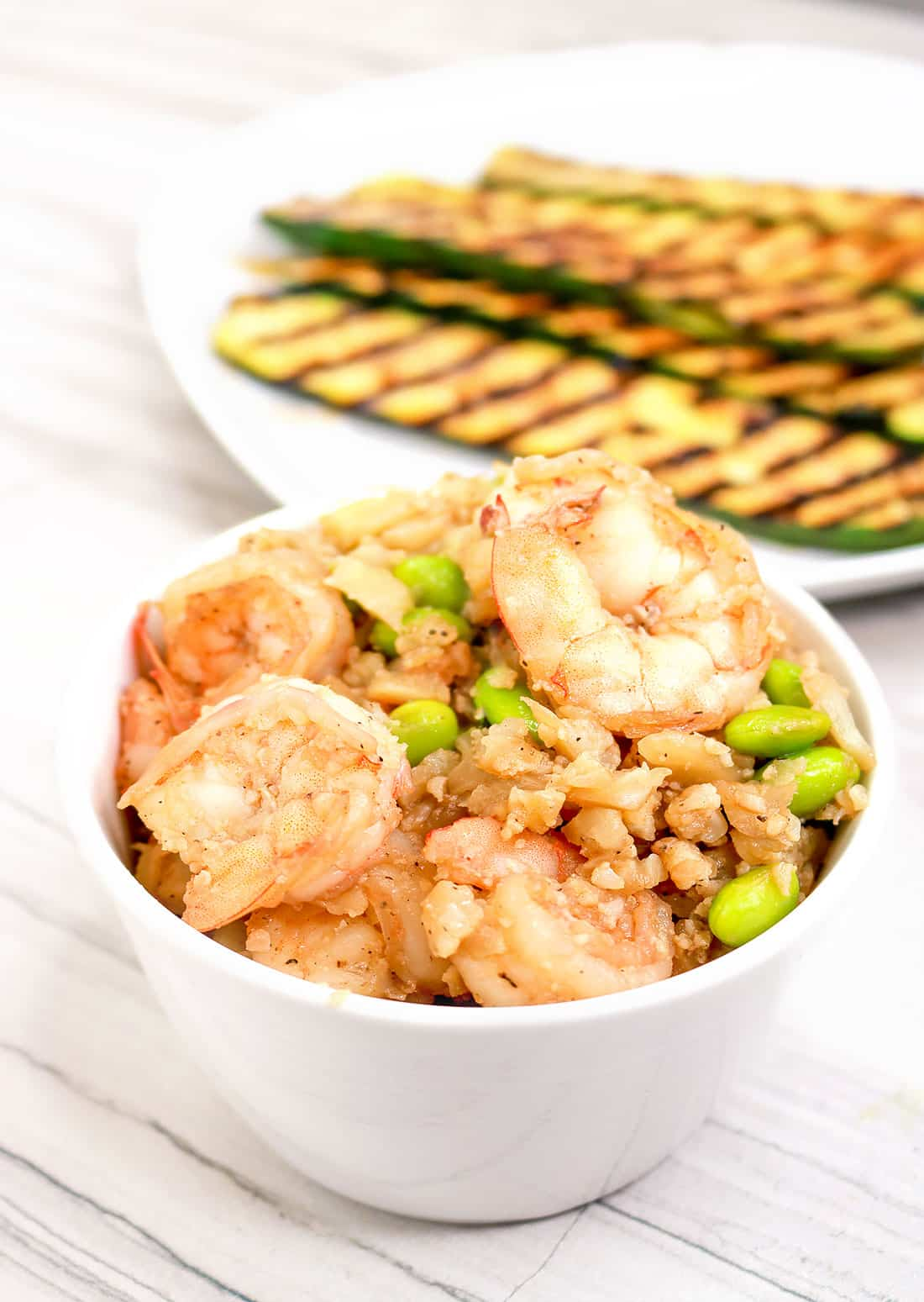 Shrimp Cauliflower Fried rice with edamame in a bowl