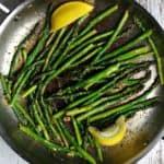 An easy recipe for sauteed asparagus that can be adjusted to include lemon, parmesan, and bacon. #keto #whole30 #sidedish #asparagus #paleo #vegetable #quick