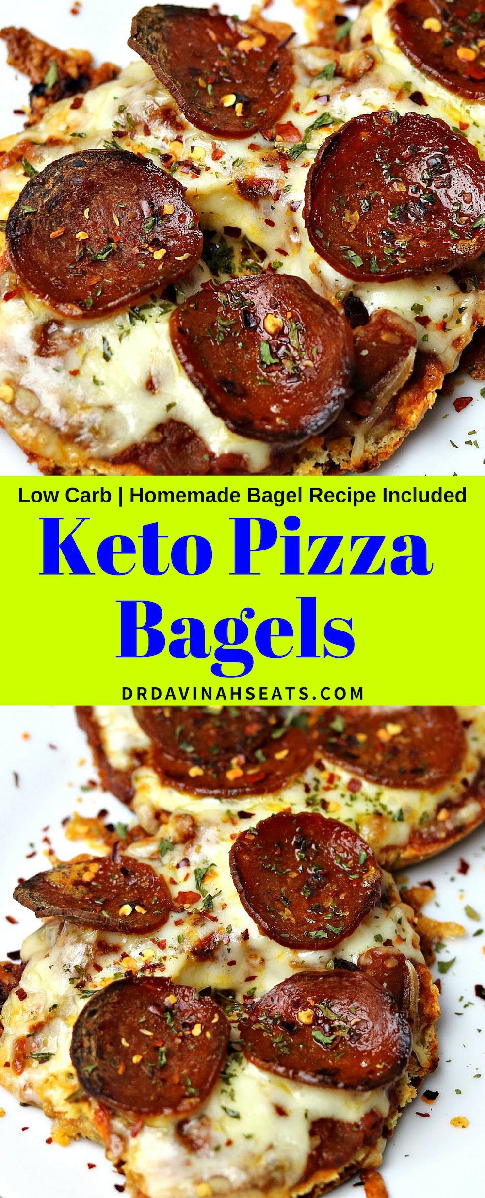 A quick Keto-friendly, low carb and grain-free recipe for pizza bagels that includes fathead dough bagels and tips for popular pizza ingredients. #ketopizza #ketofood #ketomeal #pizzabagels #pizzabagel #ketolunch #grainfree #almondflour