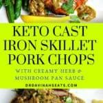 A Pinterest image for Cast Iron Skillet Pork Chops