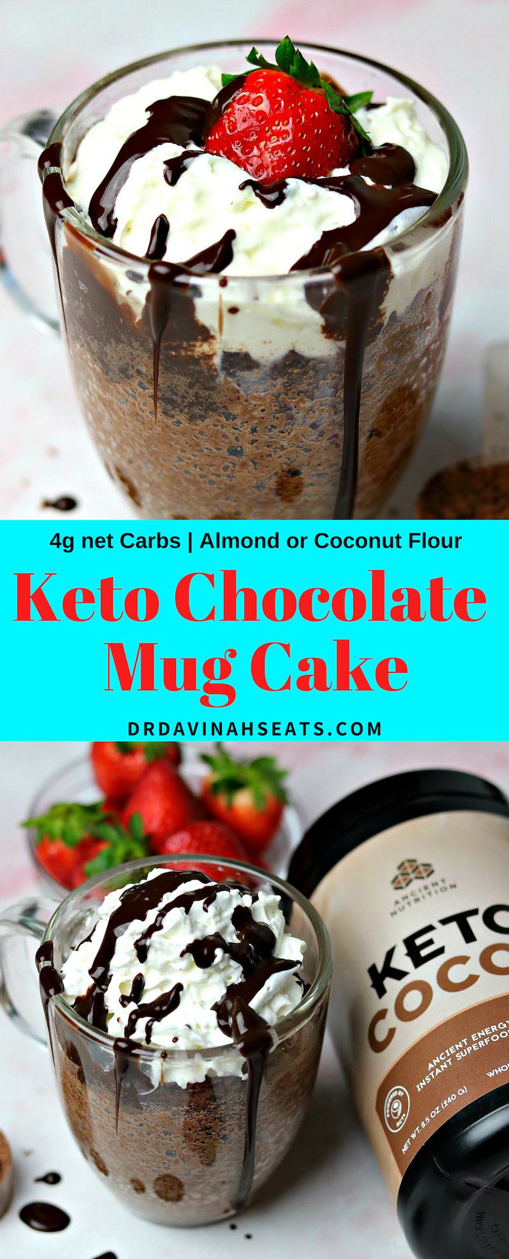 A 2-minute keto chocolate mug cake recipe that includes almond or coconut flour. Tips to sub cocoa powder with your favorite chocolate collagen peptides. #ketomugcake #mugcake #chocolatecake #ketodessert