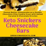 Pinterest Image for Keto Snickers Cheesecake Bars
