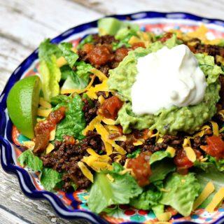 Keto Taco Salad on a plate